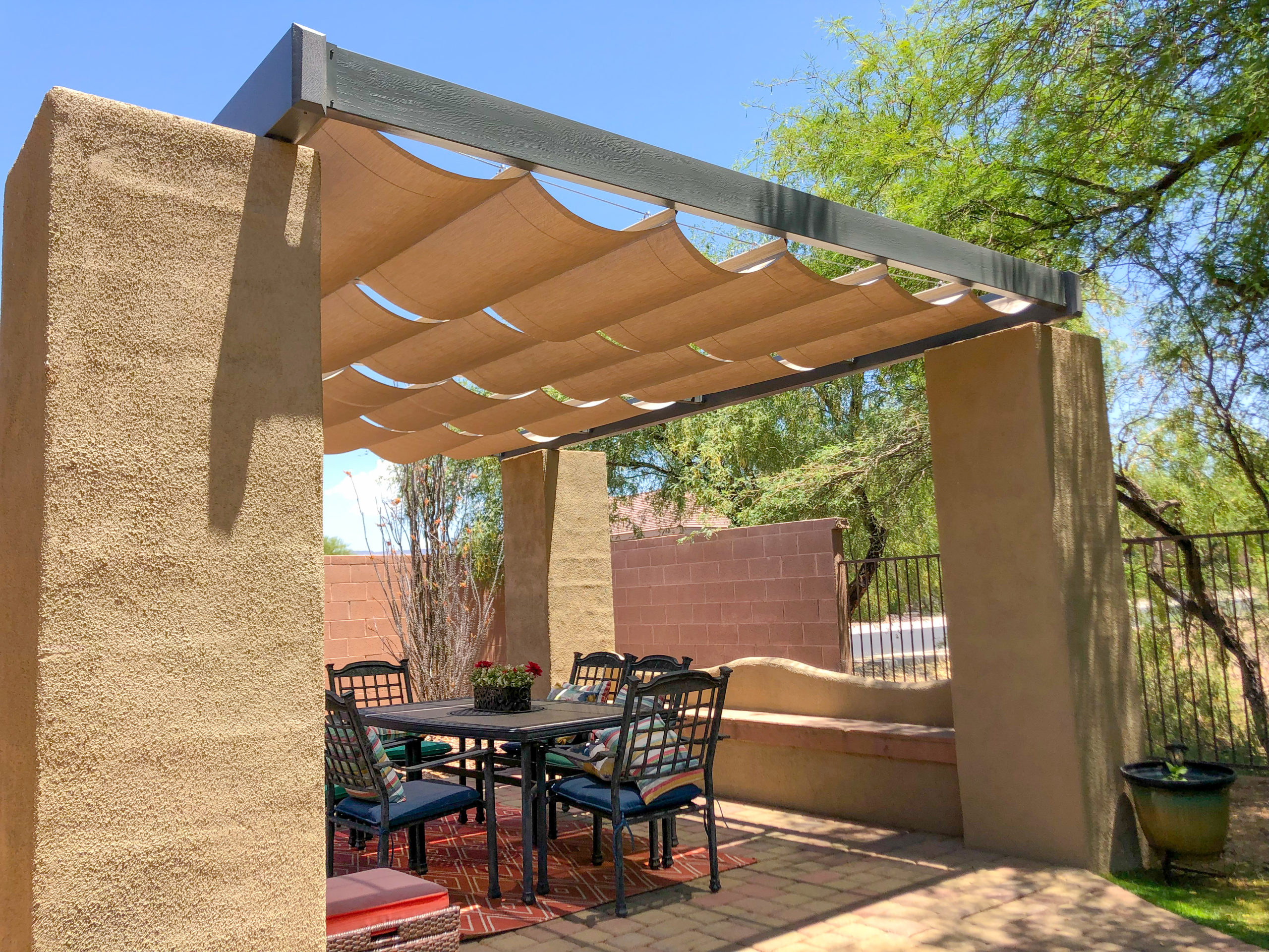 Roman Shades on back patio